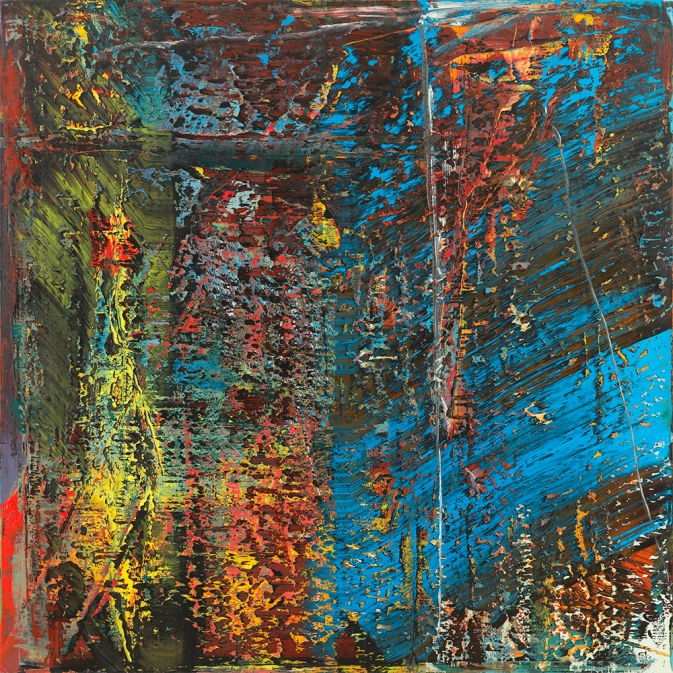 Abstract Painting made by layering oil paints of different colors and then cutting them away