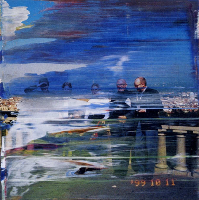 Gerhard Richter Abstract Paint Brushstrokes on Photos.